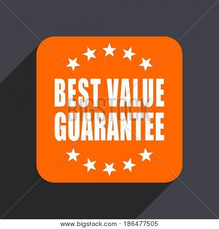 Best value guarantee orange flat design web icon isolated on gray background