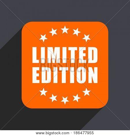 Limited edition orange flat design web icon isolated on gray background