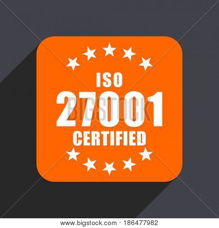 Iso 27001 orange flat design web icon isolated on gray background