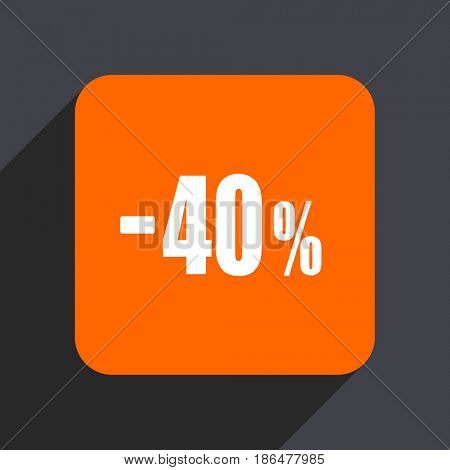 40 percent sale retail orange flat design web icon isolated on gray background