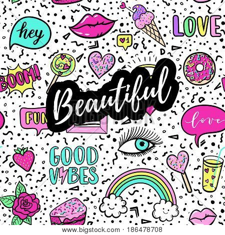 Beautiful Greeting Card, Fashion Poster. Hand Drawn Fashion Pink Color Patches: Rainbow, Doughnut, C