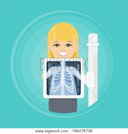 Woman with x ray chest bones. Medical treatment.