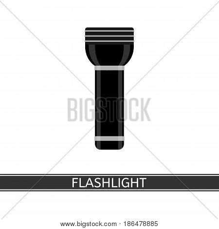 Camping flashlight icon vector illustration. Black LED flashlight in flat style isolated on white background for tourism, hiking and fishing