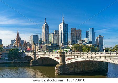 Melbourne Cbd Cityscape With Historic Princess Bridge Over Yarra River