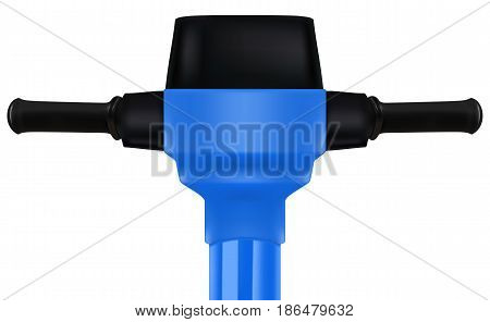 Construction blue electric jackhammer tool. Realistic vector 3D illustration