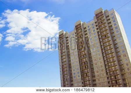 New Uncompleted Residential High-rise Building Of Reinforced Concrete Slabs On The Background Of The