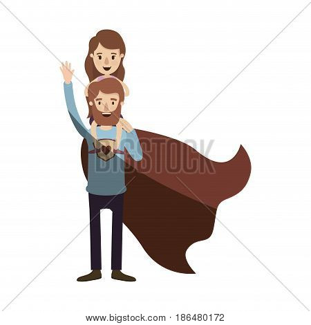 light color shading caricature full body super dad hero with girl on his back vector illustration