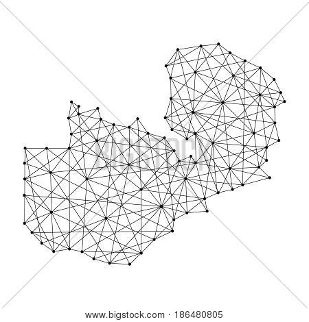Map of Zambia from polygonal black lines and dots of vector illustration
