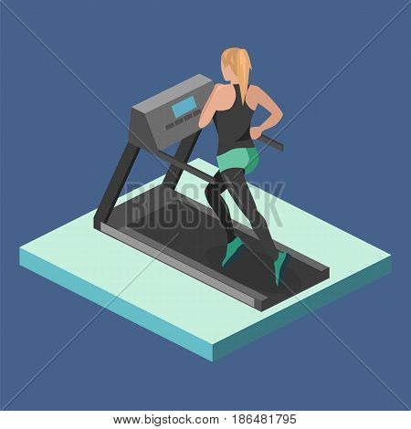 Isometric Flat 3D Isolated Girl Is Running On The Treadmill