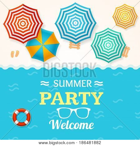 Summer Time Banner with a Beach Umbrella Concept of a Fun Party. Vector illustration