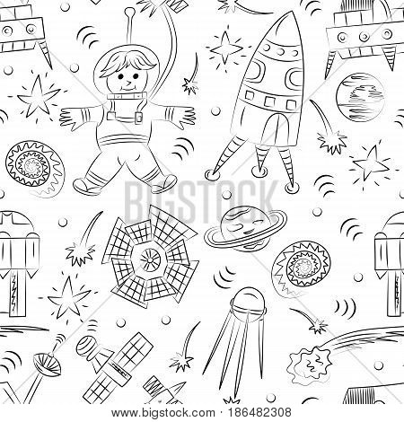 Seamless Pattern of Hand Drawn Doodle Spaceman Spaceships Rockets Falling Stars Planets and Comets. Sketch Style. Vector Illustration.
