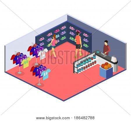 Isometric flat 3D isolated concept vector interior goods for the sports shop. Stand with sneakers, clothes, baseball swords, dumbbells