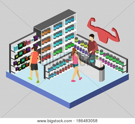 Isometric flat 3D isolated concept vector cutaway interior of Sports supplements. Bodybuilding or gym supplements . Sport and fitness nutrition.