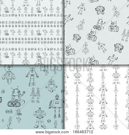 Vector robot doodle seamless pattern set. Concept of science and future. Cartoon style. Hand-drawn illustration.