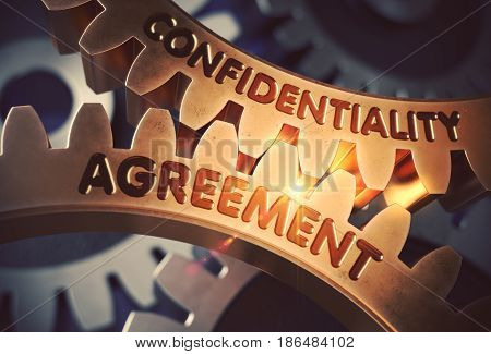 Confidentiality Agreement - Concept. Confidentiality Agreement Golden Metallic Cogwheels. 3D Rendering.
