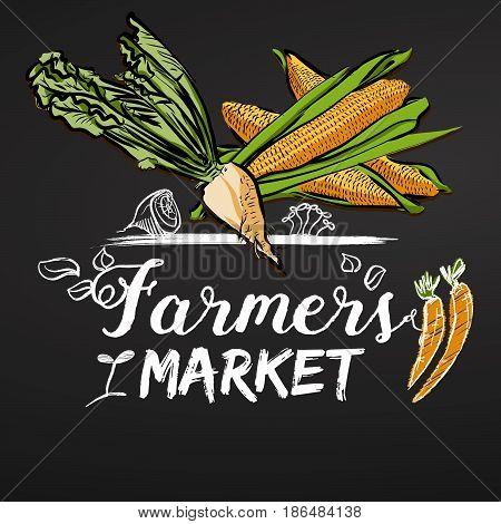 Farmers Market Sketched Banner On Chalkboard