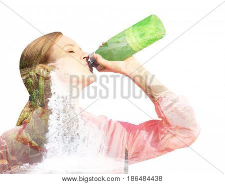 Double exposure of landscape and young woman drinking water on white background. Concept of clean drink