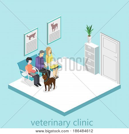 waiting room in veterinary clinic. Visitors sit on the chairs in the corridor. patient waits to receive a doctor. Flat 3D vector illustration.