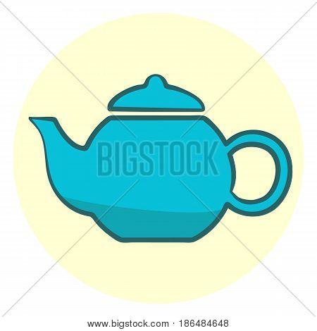 Cute blue teapot colorful vector teapot icon