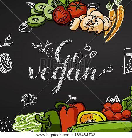 Go Vegan. Chalk Title Poster