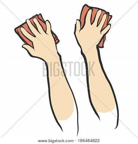 Hands and Rags isolated Sketch hand drawn vector sketch.