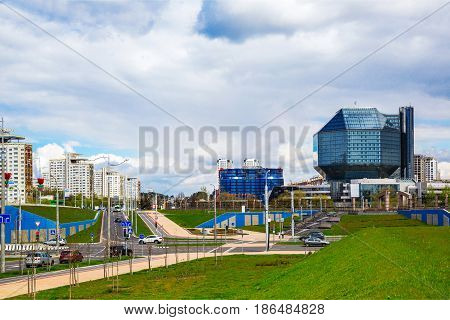 Belarus Minsk May 11 2017: National Library of Belarus panoramic view of the building - the main universal scientific library a symbol of Belarusian culture and science editorial