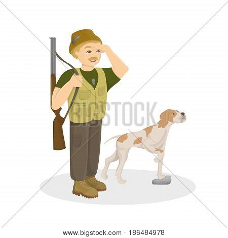 Hunter with dog. Hunt with gun and best friend on white background.