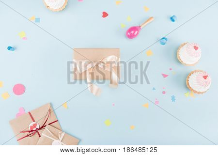 Top View Of Cakes With Gift Boxes And Beanbag Mock-up, Birthday Party