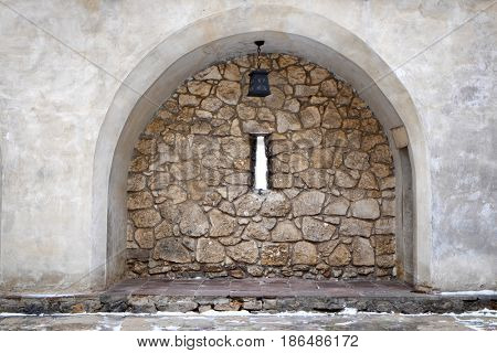 Loophole in wall of old castle
