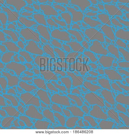 Abstract texture. Simultaneous illusion. Seamless pattern with cracked grey polygonal forms isolated on a blue background. Vector illustration for your design, backdrop, print, wrapping, textile, etc.