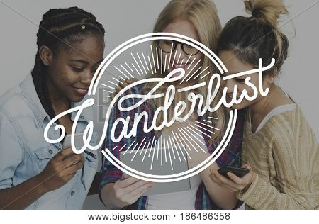 Young Adult Women with Wanderlust Word Graphic