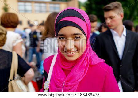 Happy muslim girl in a prom