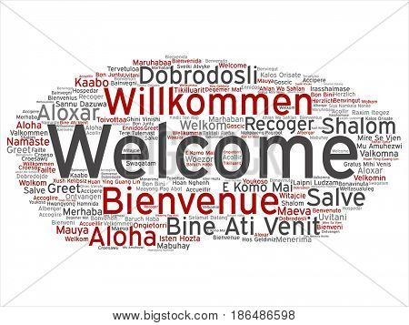 Concept or conceptual abstract welcome or greeting international word cloud in different languages or multilingual. Collage of world, foreign, worldwide travel, translate, vacation tourism text