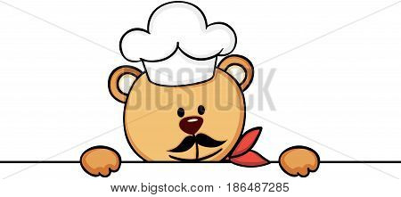 Scalable vectorial image representing a teddy bear chef cook peeking, isolated on white.