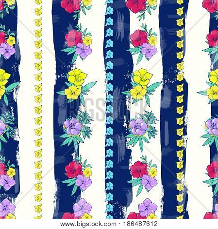 Vector seamless pattern. Exotic colorful flowers on a background with stripes. Floral design. Hand drawn fashion illustration.