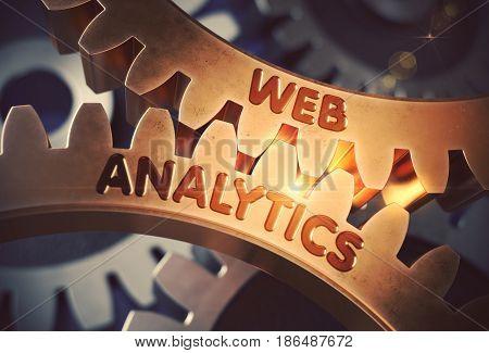 Web Analytics on the Mechanism of Golden Metallic Gears. Web Analytics on the Golden Gears. 3D Rendering.