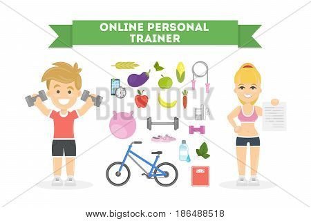 Personal fitness trainer online. Fit people. Remote self training.