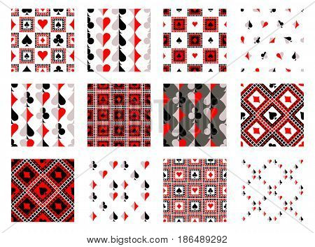 Set Of Seamless Vector Patterns With Icons Of Playings Cards. Endless Backgrounds. Graphic Illustrat