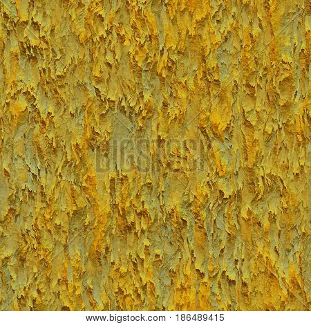 Seamless texture hanging down worn-out ripped rags yellow cloth or paper. Pattern of rustic fabric material
