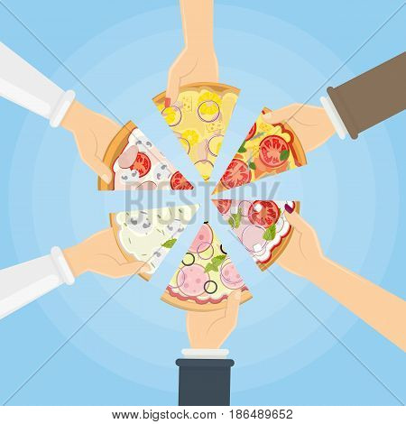Hands holding pizza. Symbol of togetherness, sharing and friendship.