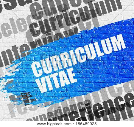 Education Service Concept: Curriculum Vitae - on the Brick Wall with Wordcloud Around. Modern Illustration. Curriculum Vitae on the Brickwall Background with Wordcloud Around It.