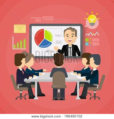 Online presentation concept. Screen with presenter and data. Meeting with audience.