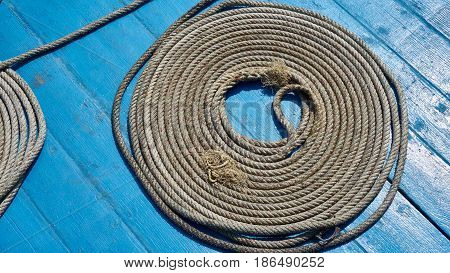 Coiled rope on the deck. Ferry from Phangan to Samui, Thailand