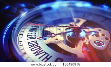 Pocket Watch Face with Career Growth Inscription on it. Business Concept with Film Effect. 3D Illustration.
