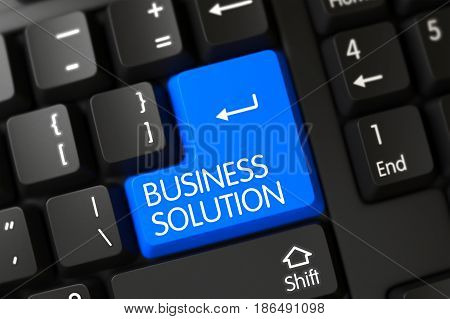Black Keyboard with Hot Button for Business Solution. 3D render.
