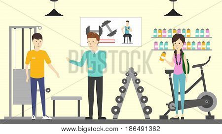 Sport store interior. Salespeople with visitors. Buying sports machines for weight training.