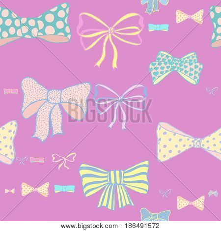 Seamless pattern with hand drawn bows on pink background. Doodles vector illustration.