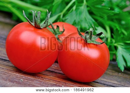 Group of tomatoes and parsley on table close-up