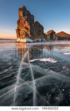 Famous Baikal Lake Ice and Island Oltrek at Sunrise Baikal Lake Russia