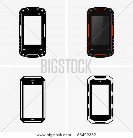 Set of four protected smartphones ( shade pictures )